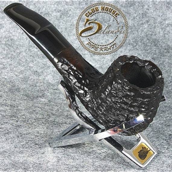 Balandis Exclusive Hand Made - CARVED BRIAR wood smoking pipe black * OMEGA *