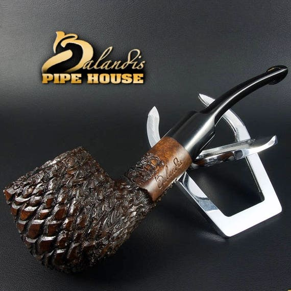 Mr.BALANDIS HAND MADE - Carved & Waxed Briar wood smoking pipe * Brother Brad *