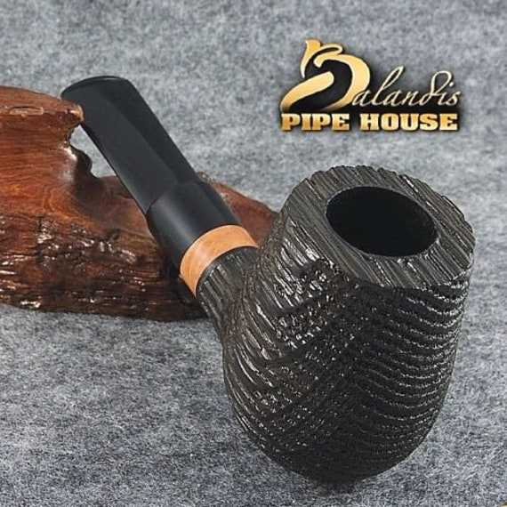Smoking Pipe by D. BALANDIS Handmade  natural Bog Oak Wood MORTA - LARWA