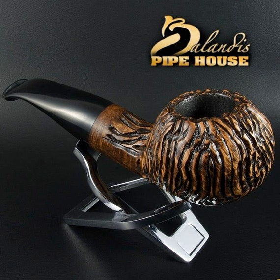 Mr.BALANDIS HAND MADE - Carved & Smooth Briar wood smoking pipe *Bison Divero*