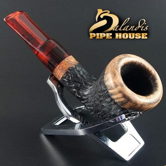 """EXCLUSIVE Balandis Original Olive Handmade Smoking Pipe """"INDIANA"""" carved ORBARO"""