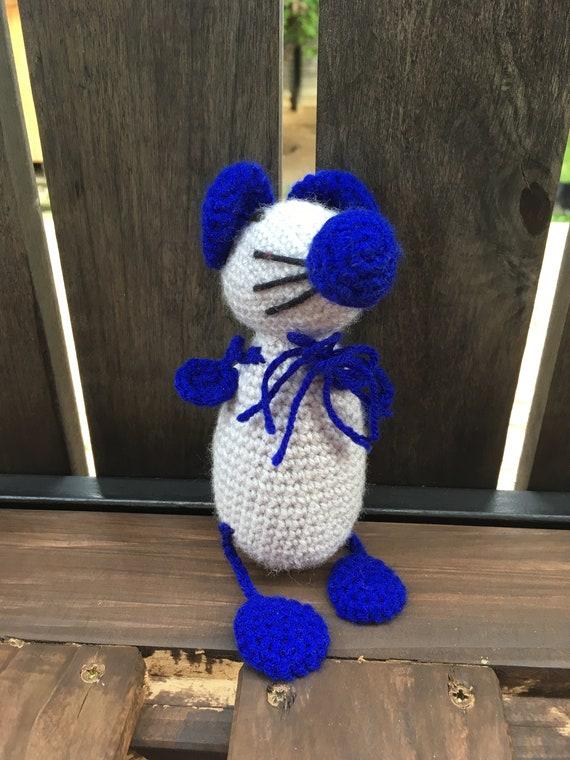 Crotchet Blue Mousey Mouse soft toy handmade Amigurumi