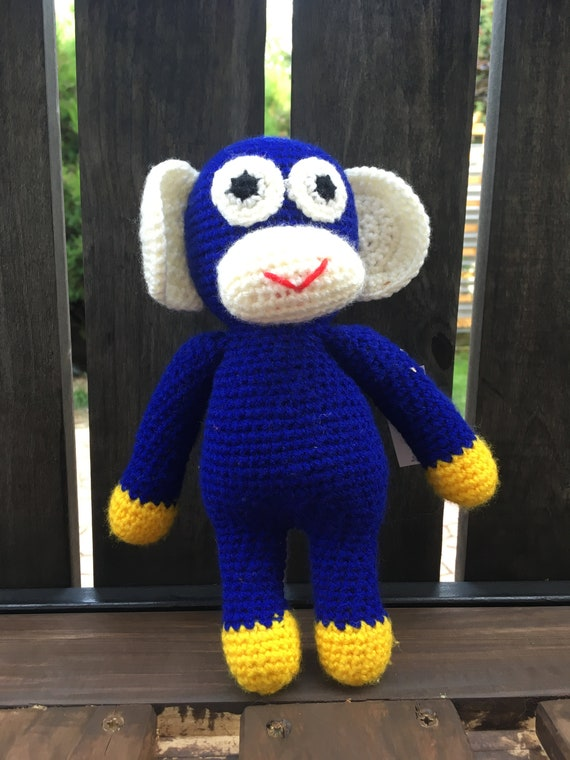 Crotchet Blue Monkey soft toy handmade Amigurumi