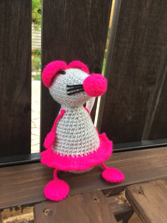 Crotchet Pinky Pink Mousey Mouse soft toy handmade Amigurumi