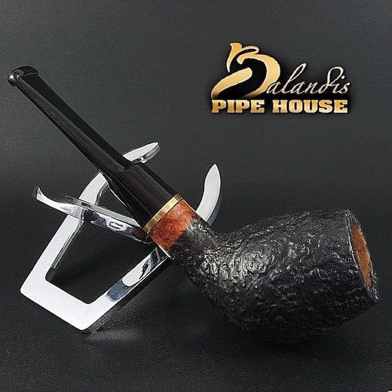 """BALANDIS Original Briar Handmade Smoking Pipe """" TOKYO """" Teak Sandblasted Black"""