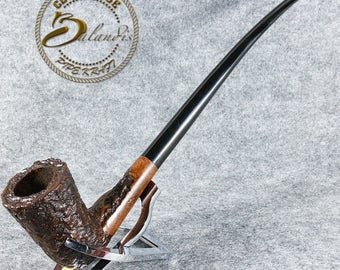 """Mr.Balandis EXCLUSIVE Hand Made Carved BRIAR Long smoking pipe """" GALHAR """" Churchwarden LotR"""
