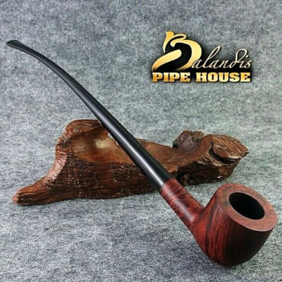 "Smooth Briar wood Tobacco - smoking pipe LONG "" BULLHERD "" LOTR Churchwarden"
