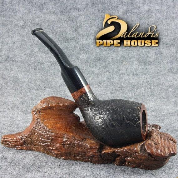 """BALANDIS Original Briar Handmade Smoking Pipe """" SAPPORO """" Teak Sandblasted Black"""