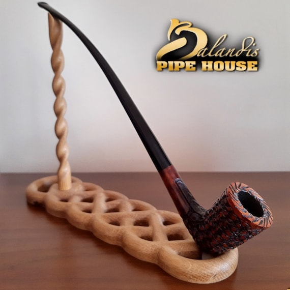 "Mr.Balandis EXCLUSIVE Hand Made Carved BRIAR Long smoking pipe "" GALHAR "" Oragna Churchwarden LotR"