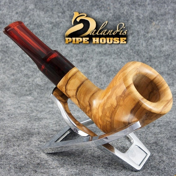 "Tobacco Smoking Pipe by Balandis Handmade From Natural Olive Wood ""Indiana"""