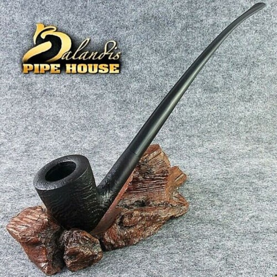 "BALANDIS Sandblasted Briar Long smoking pipe "" CHERHAR Dark "" Churchwarden LOTR"