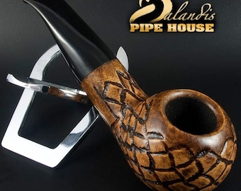 Mr.BALANDIS HAND MADE - Carved & Smooth Briar wood smoking pipe *Bison Adamant*