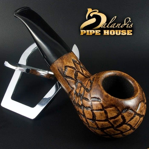 Mr.BALANDIS HAND MADE - Carved & Smooth Briar wood smoking pipe *Bison Adamant*
