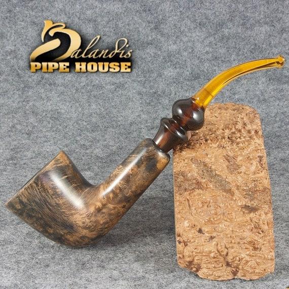 "EXCLUSIVE BALANDIS Original Briar Handmade Smoking Pipe "" AFRICA "" Marble smooth"