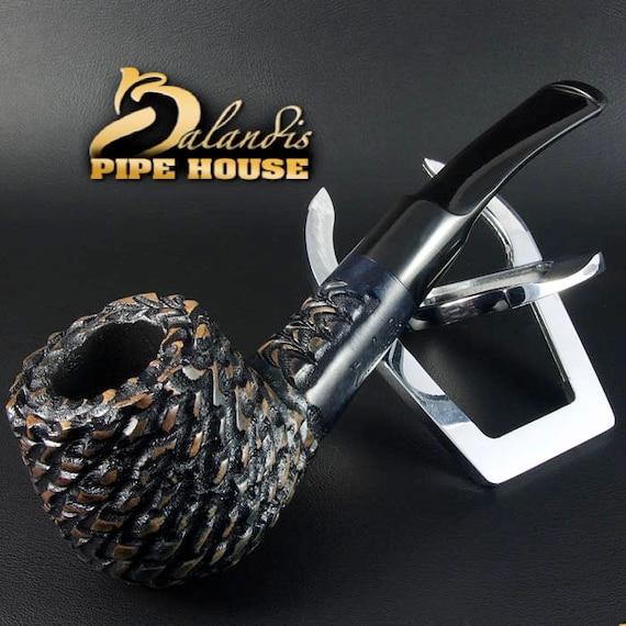 Mr.BALANDIS HAND MADE - Carved & Waxed Briar wood smoking pipe  Brother Grey*