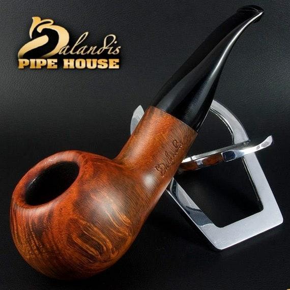 Mr.BALANDIS HAND MADE - Carved & Smooth Briar wood smoking pipe *Bison Malmac*
