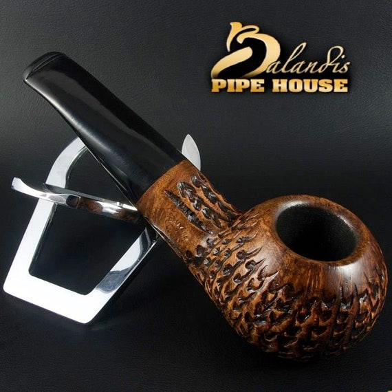 Mr.BALANDIS HAND MADE - Carved & Smooth Briar wood smoking pipe *Bison Decalvet*