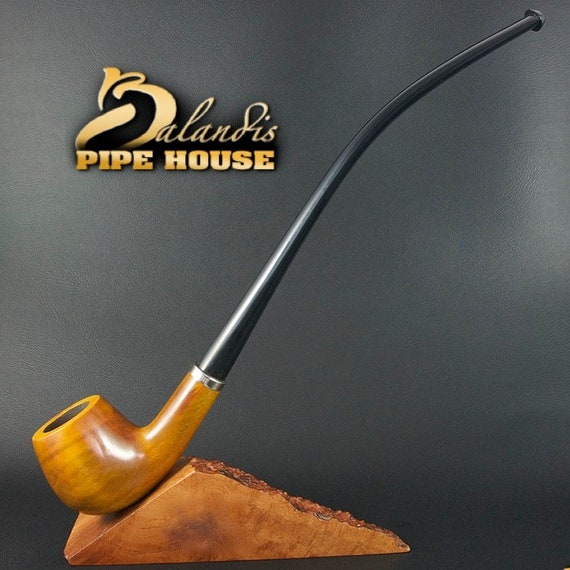 "BALANDIS Original Handmade Pear Wood Tobacco SMOKING Pipe ""CHURCHWARDEN"" Honey"