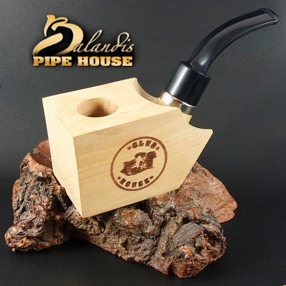 Club House Tobacco Pipe Pear Wood Block Poker BGB - Pre Drilled Beginner DIY Kit