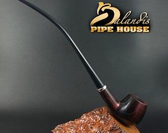 "BALANDIS Original Handmade Pear Wood Tobacco SMOKING Pipe ""CHURCHWARDEN"" Rubin classic smooth"