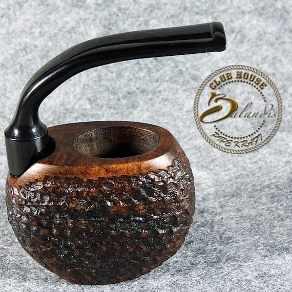 """Mr.BALANDIS EXCLUSIVE Hand Made - Carved Briar wood Pocket smoking pipe """"VINTAGE"""" brown"""