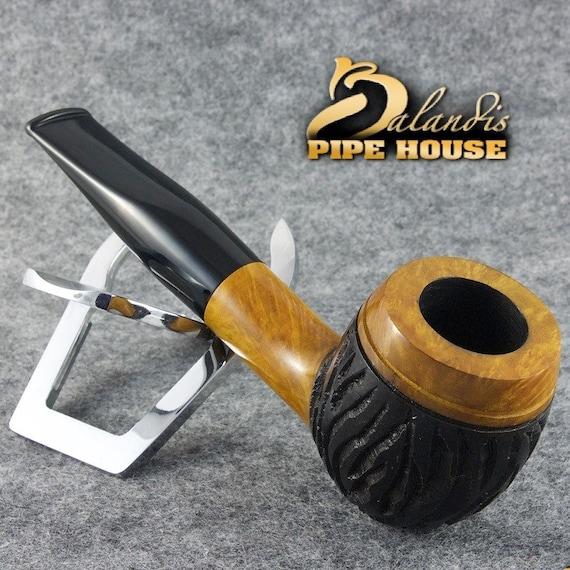"BALANDIS Briar Handmade BILLIARD Tobacco Smoking Pipe "" Barnaba "" Rustic ZOLTAN (9mm)"