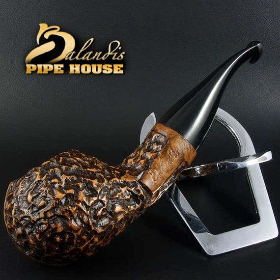 Mr.BALANDIS HAND MADE - Carved & Smooth Briar wood smoking pipe *Bison Calpro*
