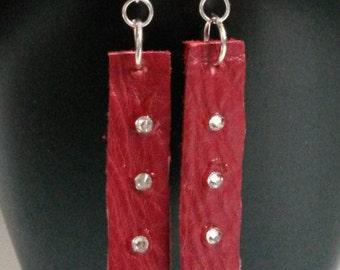 Leather bar earrings, leather earrings, dangle earrings, red dangle earrings,