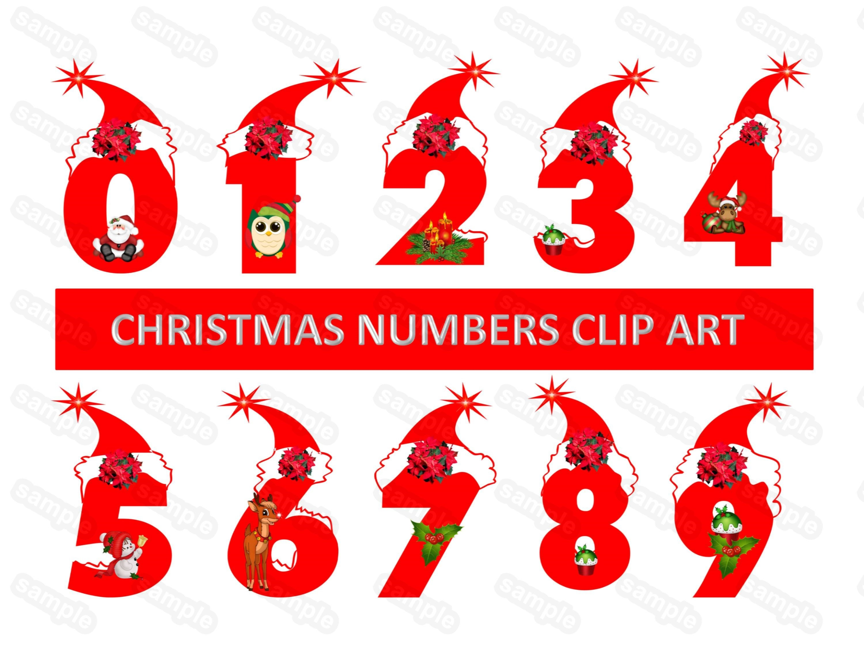 Red Christmas Numbers Numbers Clip Art Christmas Numbers | Etsy