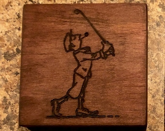 CNC Carved Wooden Drink Coasters (Golf Characters)