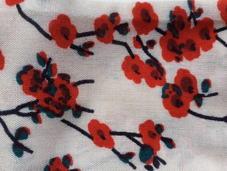 Set headbands to tie mother daughter cotton OEKO-TEX beige patterns red flowers