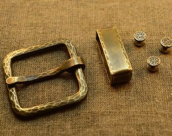 Set of Original Brass Belt Buckles   Brass Roller Buckle   Fashion belt buckle