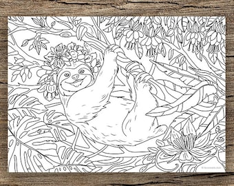 Sloth Coloring Pages Etsy