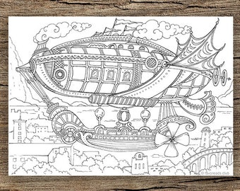 Traveling Printable Adult Coloring Page from Favoreads | Etsy