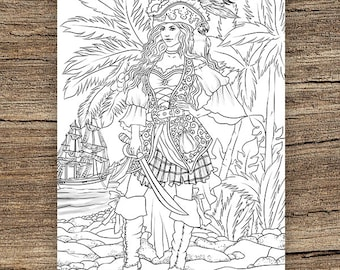 Pirate Coloring Page Etsy
