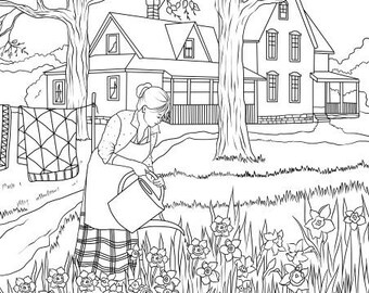 Beach House Printable Adult Coloring Page From Favoreads Etsy