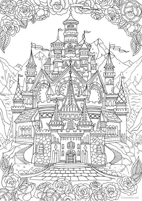 Castle Printable Adult Coloring Page From Favoreads Etsy