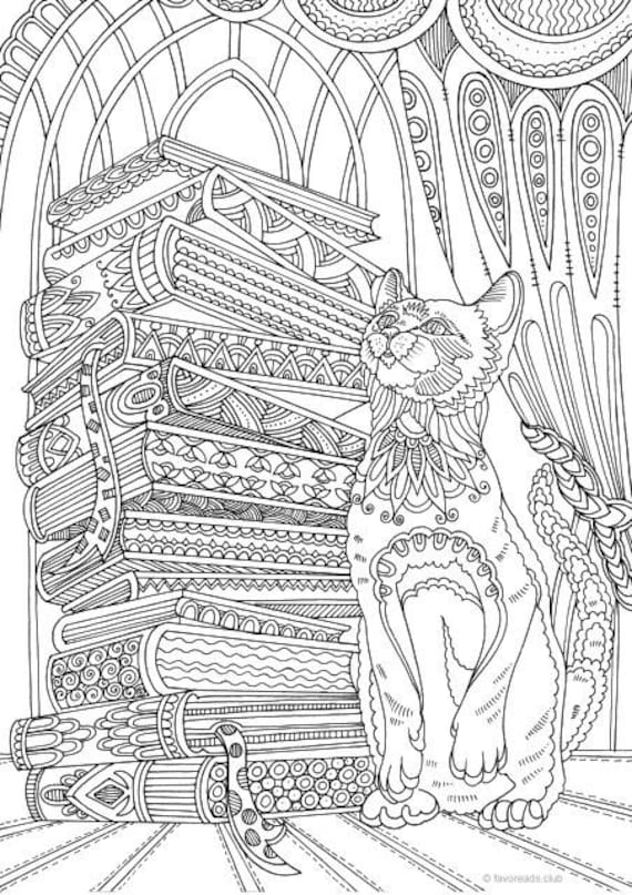 Cat and Books Printable Adult Coloring Page from Favoreads ...