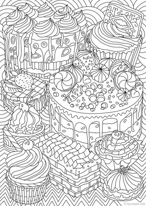 adualt coloring pages | Sweet Treats Printable Adult Coloring Page from Favoreads ...
