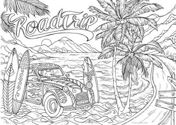 Road Trip Printable Adult Coloring Page From Favoreads