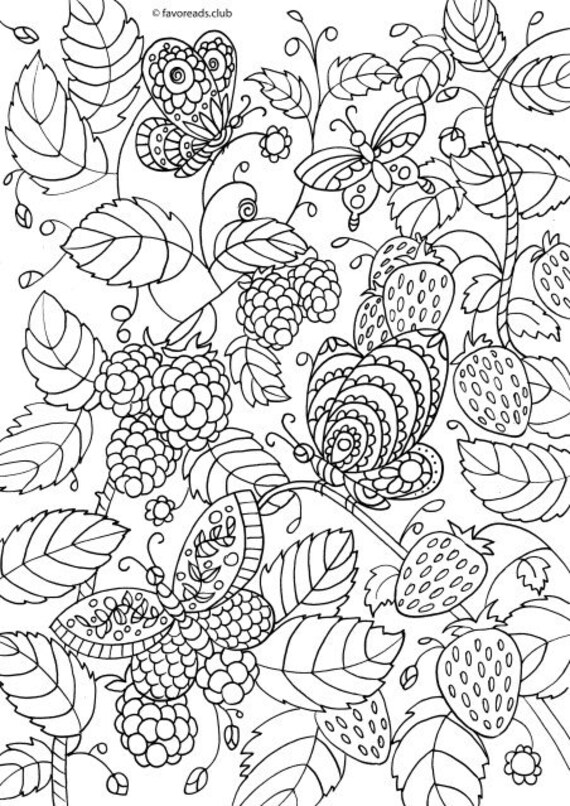 Berries - Printable Adult Coloring Page from Favoreads (Coloring book pages  for adults and kids, Coloring sheet, Coloring design)