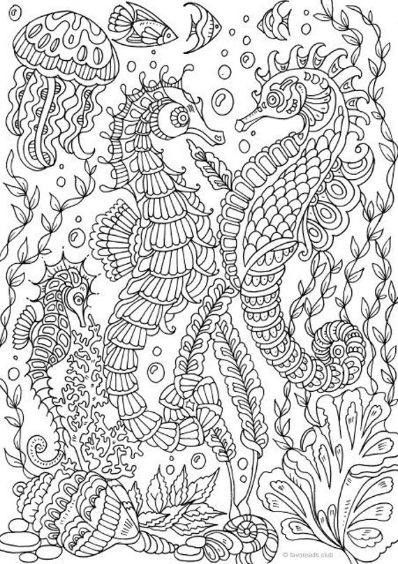 - Sea Horses Printable Adult Coloring Page From Favoreads Etsy