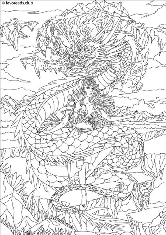 Dragon And Princess Printable Adult Coloring Page From Etsy