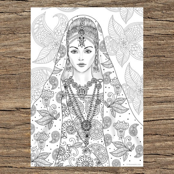 Indian Girl Printable Adult Coloring Page From Favoreads Etsy