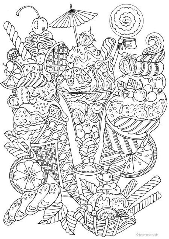 Ice Cream Printable Adult Coloring Page From Favoreads Etsy