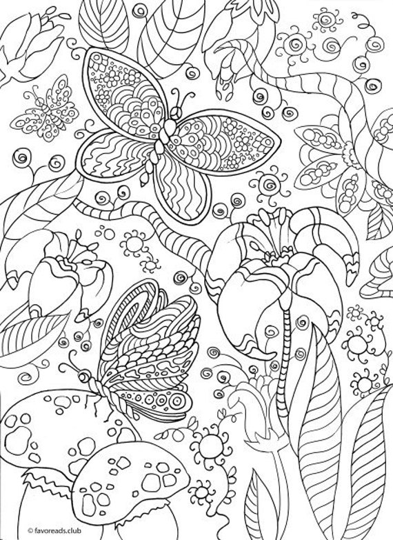 Magic Forest Printable Adult Coloring Page From Favoreads Etsy