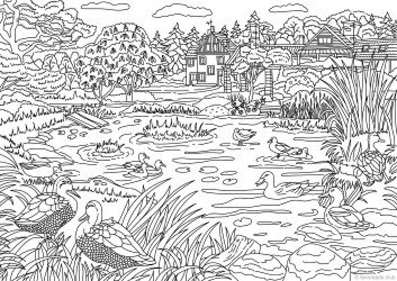 Farm Life Bundle 10 Printable Adult Coloring Pages from | Etsy