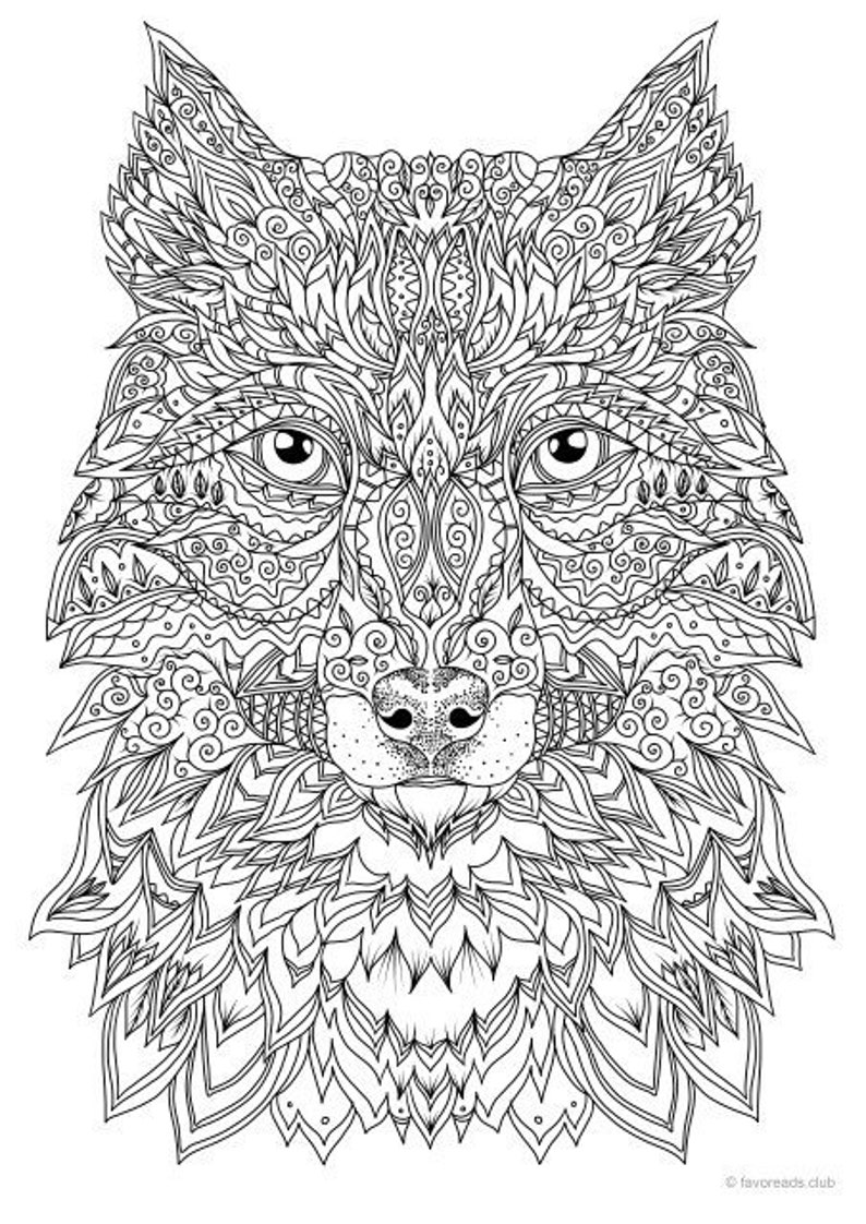 Fantasy Wolf Printable Adult Coloring Page from Favoreads ...