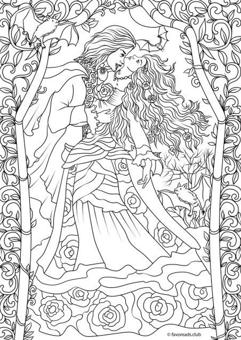Vampire Romance Printable Adult Coloring Page from ...