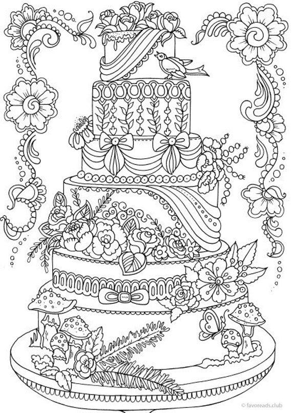 Cake Printable Adult Coloring Page from Favoreads Coloring ...